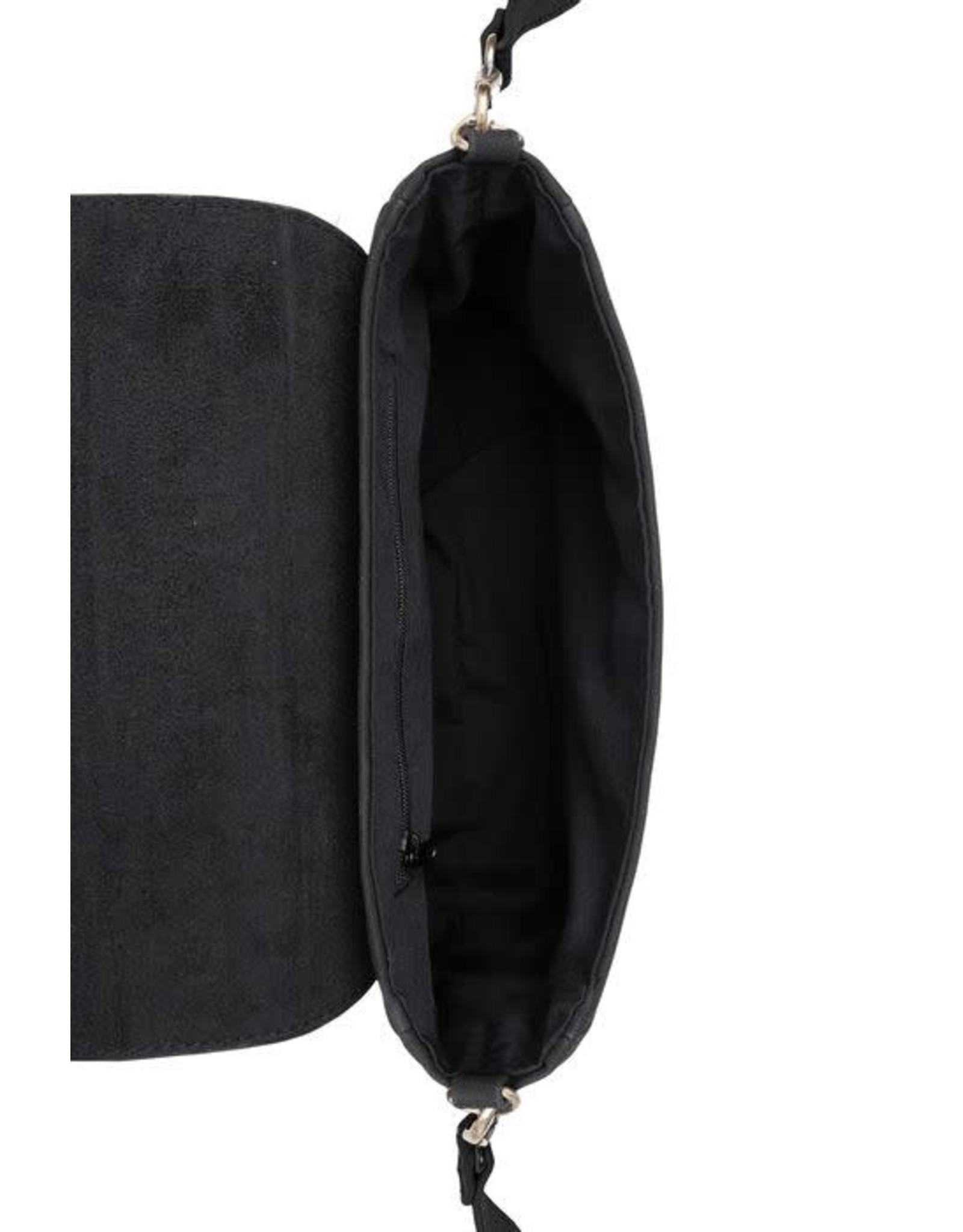 Zusss Zusss Trendy schoudertas met gesp Zwart