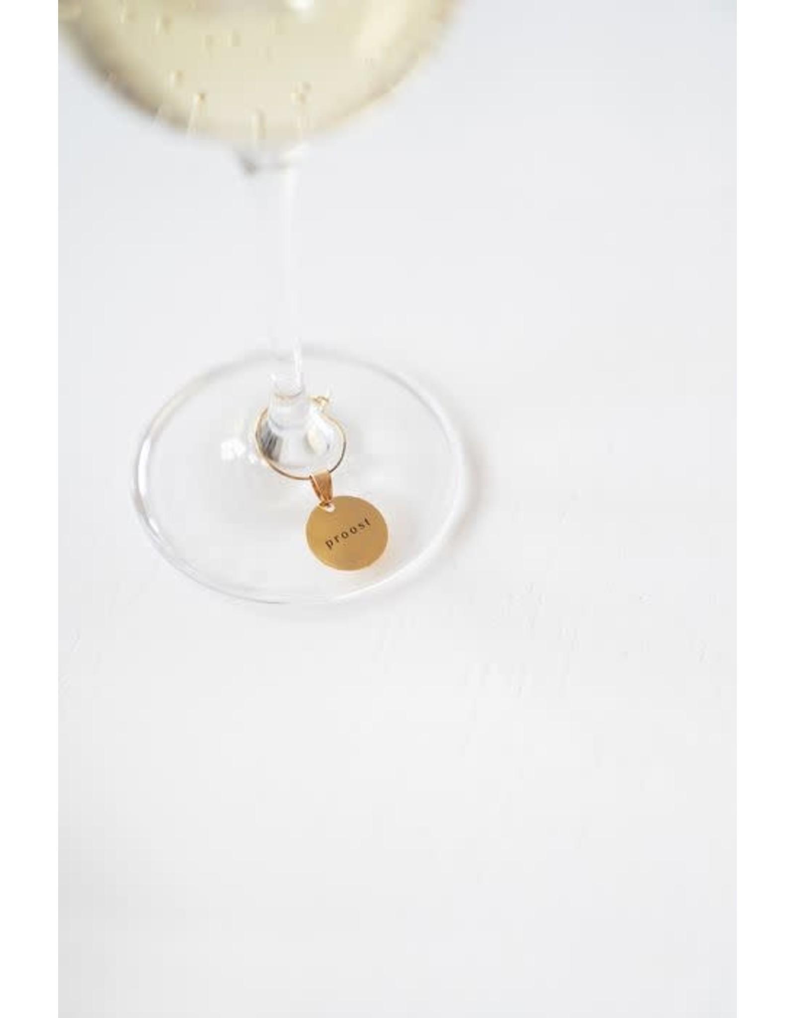 Zusss Zusss set van 6 wijnglas hangers metaal