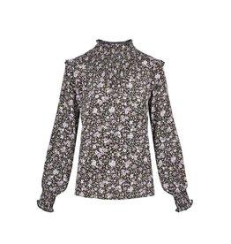 Zusss Zusss blouse met gesmokte details bloemenprint