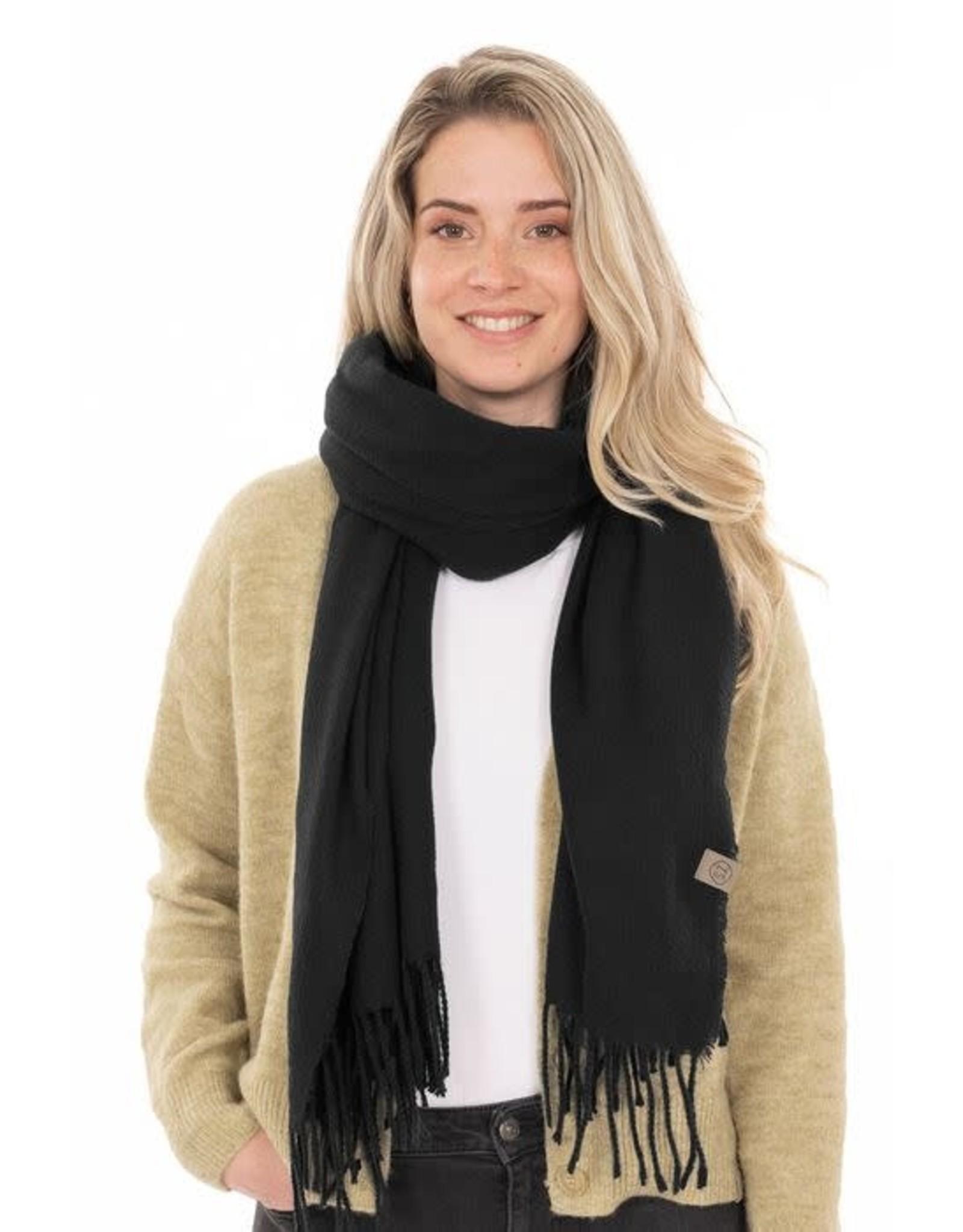 Zusss Zusss Basic sjaal met franjes zwart