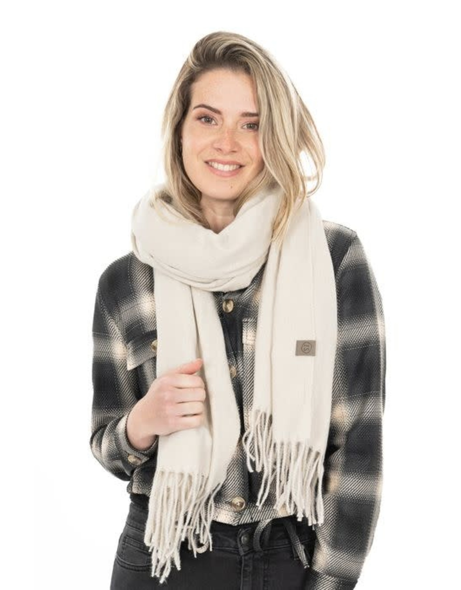 Zusss Zusss Basic sjaal met franjes creme