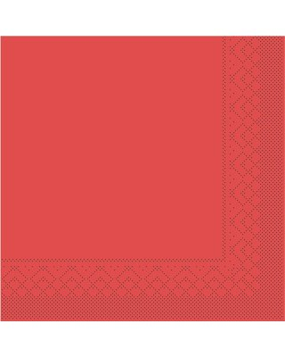 Servet Tissue 3 laags 40x40cm  1/4 vouw Uni Rood