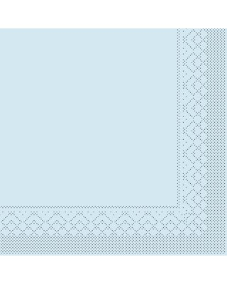 Servet Tissue 3 laags 25x25cm 1/4 vouw Uni Lichtblauw