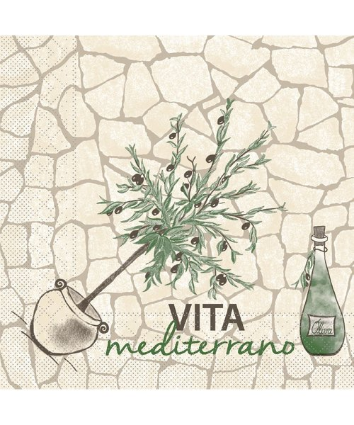 Servet Tissue 3 laags Vita Mediterrano 40x40cm dubbelzijdig bestellen