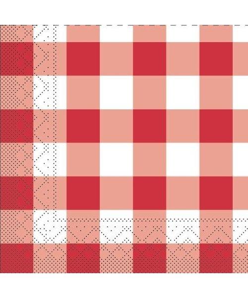 Servet Tissue Karo Rood 24x24cm  bestellen