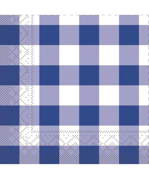 Servet Tissue 3 laags Karo Blauw 24x24cm bestellen