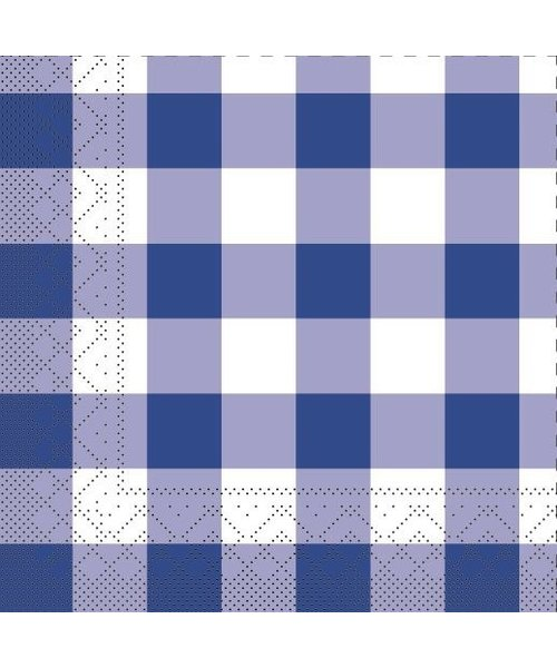 Servet Tissue 3 laags Karo Blauw 25x25cm bestellen