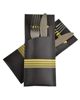 Bestekzakje Stripe Yellow POCH 016