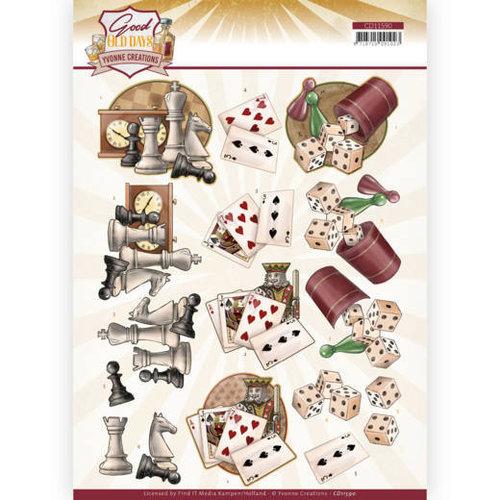 Yvonne Creations CD11590 - 10 stuks knipvellen - Yvonne Creations - Good Old Days - Games