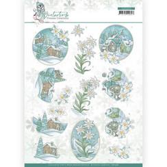 CD11572 - 10 stuks knipvellen - Yvonne Creations - Winter Time - Edelweiss