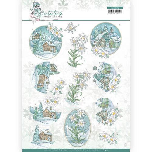 Yvonne Creations CD11572 - 10 stuks knipvellen - Yvonne Creations - Winter Time - Edelweiss