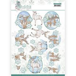 CD11573 - 10 stuks knipvellen - Yvonne Creations - Winter Time - Deer