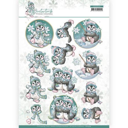 Yvonne Creations CD11574 - 10 stuks knipvellen - Yvonne Creations - Winter Time - Penguin