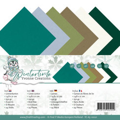 YC-A5-10021 - Linnen karton Pack - A5 - Yvonne Creations - Winter Time