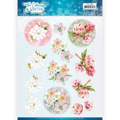 CD11567 - 10 stuks knipvellen - Jeanines Art- The colours of winter - Red winter flowers