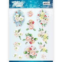 CD11568 - 10 stuks knipvellen - Jeanines Art- The colours of winter - Pink winter flowers