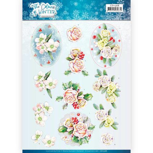 Jeanines Art CD11568 - 10 stuks knipvellen - Jeanines Art- The colours of winter - Pink winter flowers