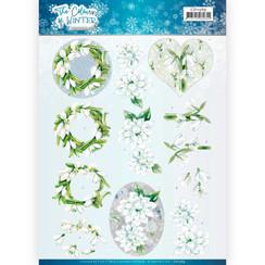 CD11569 - 10 stuks knipvellen - Jeanines Art- The colours of winter - White winter flowers