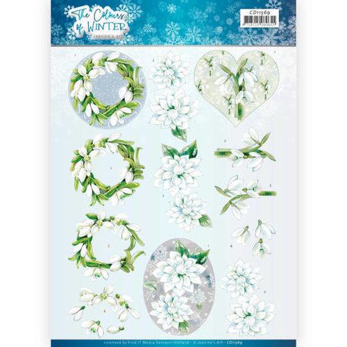 Jeanines Art CD11569 - 10 stuks knipvellen - Jeanines Art- The colours of winter - White winter flowers