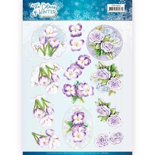 Jeanines Art CD11570 - 10 stuks knipvellen - Jeanines Art- The colours of winter - Purple winter flowers