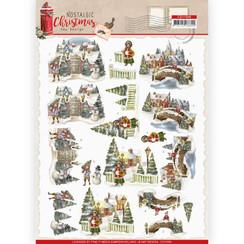 CD11559 - 10 stuks knipvellen - Amy Design - Nostalgic Christmas - Christmas Village