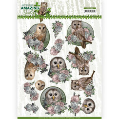 CD11566 - 10 stuks knipvellen - Amy Design - Amazing Owls - Romantic Owls