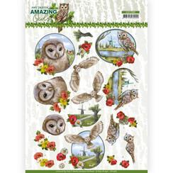 CD11565 - 10 stuks knipvellen - Amy Design - Amazing Owls - Meadow Owls