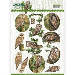 CD11564 - 10 stuks knipvellen - Amy Design - Amazing Owls - Forest Owls