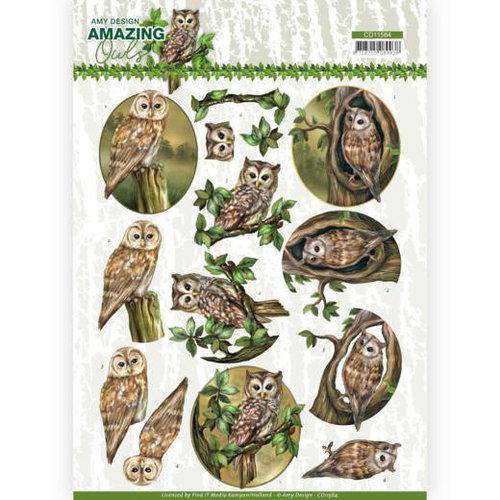 Amy Design CD11564 - 10 stuks knipvellen - Amy Design - Amazing Owls - Forest Owls