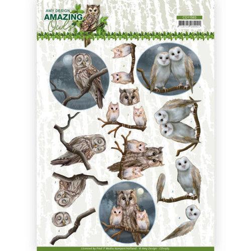 Amy Design CD11563 - 10 stuks knipvellen - Amy Design - Amazing Owls - Night Owls