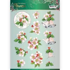 CD11558 - 10 stuks knipvellen - Jeanines Art  Christmas Flowers - Pink Christmas Flowers