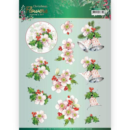 Jeanines Art CD11558 - 10 stuks knipvellen - Jeanines Art  Christmas Flowers - Pink Christmas Flowers