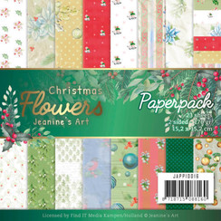 JAPP10016 - Papierpak - Jeanines Art  Christmas Flowers