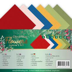 JA-4K-10011 - Linnen karton Pack - 4K - Jeanines Art  Christmas Flowers