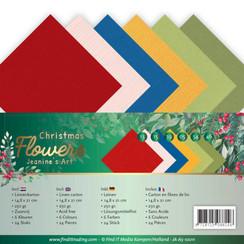 JA-A5-10011 - Linnen karton Pack - A5 - Jeanines Art  Christmas Flowers