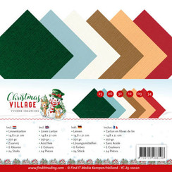 YC-A5-10020 - Linnen karton Pack - A5 - Yvonne Creations - Christmas Village