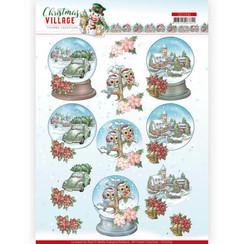 CD11542 - HJ18501 - 10 stuks knipvellen - Yvonne Creations - Christmas Village - Christmas Globes