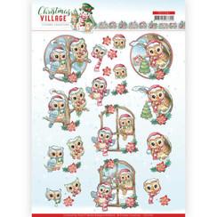 CD11541 - 10 stuks knipvellen - Yvonne Creations - Christmas Village - Christmas Owls