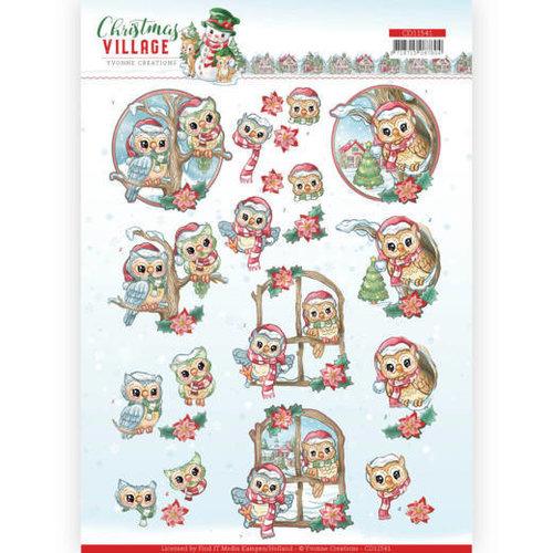 Yvonne Creations CD11541 - 10 stuks knipvellen - Yvonne Creations - Christmas Village - Christmas Owls