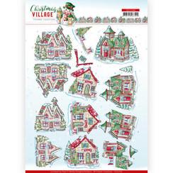 CD11540 - 10 stuks knipvellen - Yvonne Creations - Christmas Village - Christmas Houses