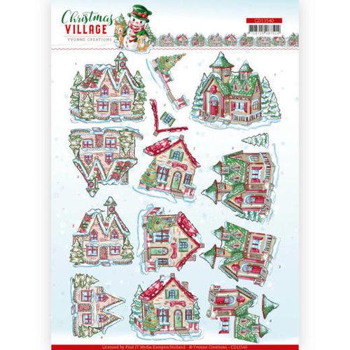 Yvonne Creations CD11540 - 10 stuks knipvellen - Yvonne Creations - Christmas Village - Christmas Houses