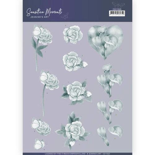 Jeanines Art CD11523 - 10 stuks knipvellen - Jeanines Art- Sensitive Moments - Grey Calla Lily
