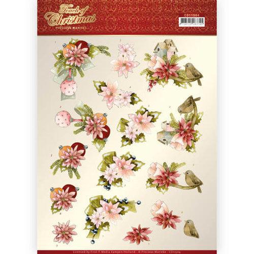 Precious Marieke CD11504 - 10 stuks knipvellen - Precious Marieke - Touch of Christmas - Pink Flowers