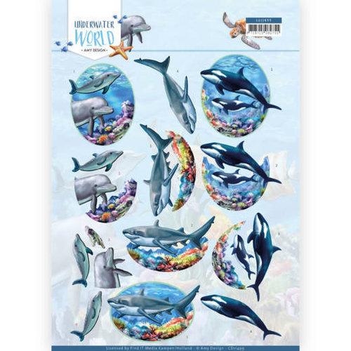 Amy Design CD11499 - 10 stuks knipvellen - Amy Design - Underwater World - Big Ocean Animals