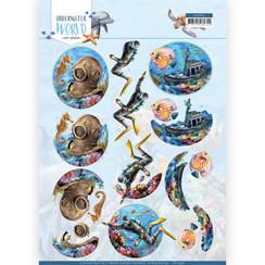 CD11496 - 10 stuks knipvellen - Amy Design - Underwater World - Deepsea Diving