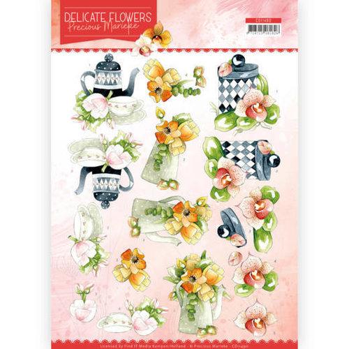 Precious Marieke CD11490 - 10 stuks knipvellen - Precious Marieke - Delicate Flowers - Teapot