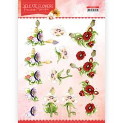 CD11489 - 10 stuks knipvellen - Precious Marieke - Delicate Flowers - Poppy
