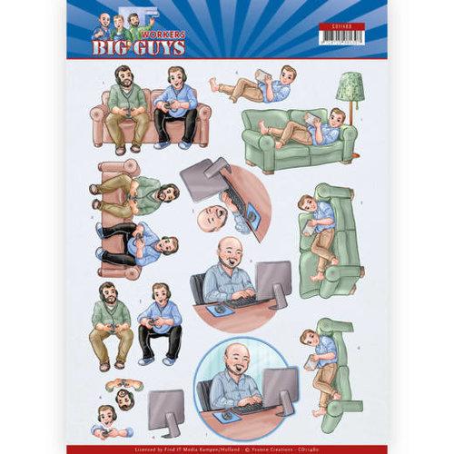 Yvonne Creations CD11480 - 10 stuks knipvellen - Yvonne Creations - Big Guys - Workers - Gaming