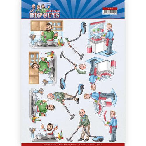 Yvonne Creations CD11479 - 10 stuks knipvellen - Yvonne Creations - Big Guys - Workers - Big Cleaning