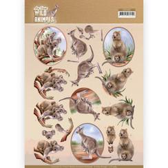 CD11483 - 10 stuks knipvellen - Amy Design - Wild Animals Outback - Kangaroo